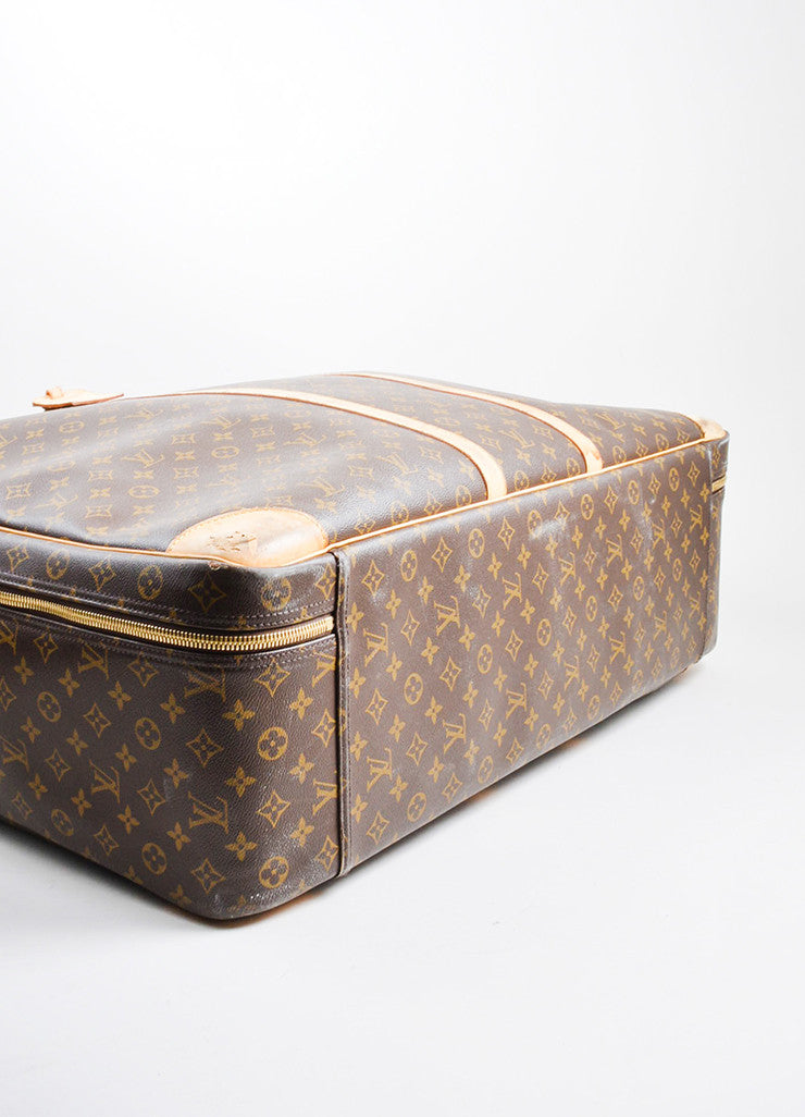 "Brown and Tan Louis Vuitton Monogram Canvas ""Sirius 70"" Suitcase Luggage Bottom View"