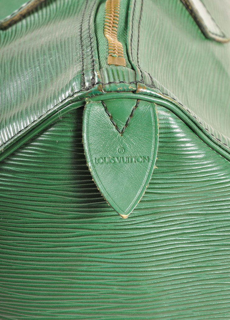 "Louis Vuitton Green Epi Leather ""Speedy 35"" Satchel Handbag Detail"