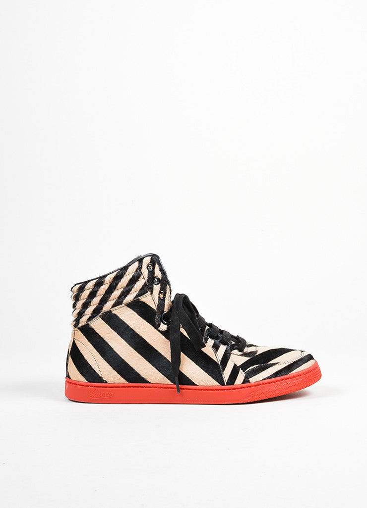 "Red Gucci Zebra Stripe Pony Hair ""Coda"" High Top Sneakers Sideview"