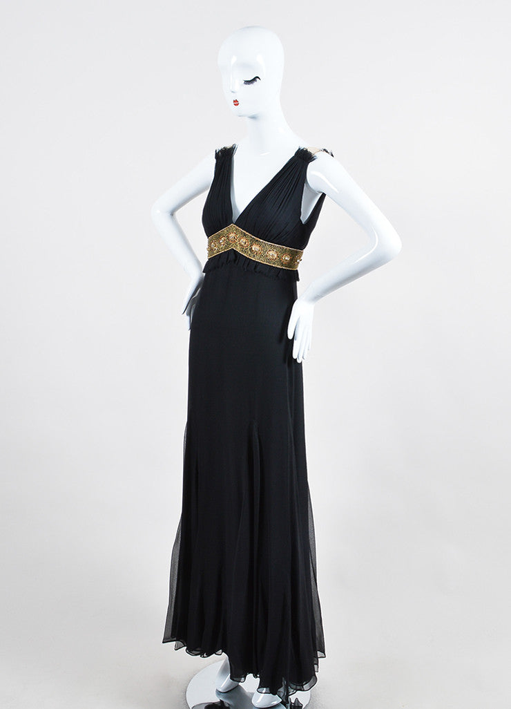 Black and Gold Monique L'huillier Silk Beaded Empire Waist V-Neck Gown Sideview