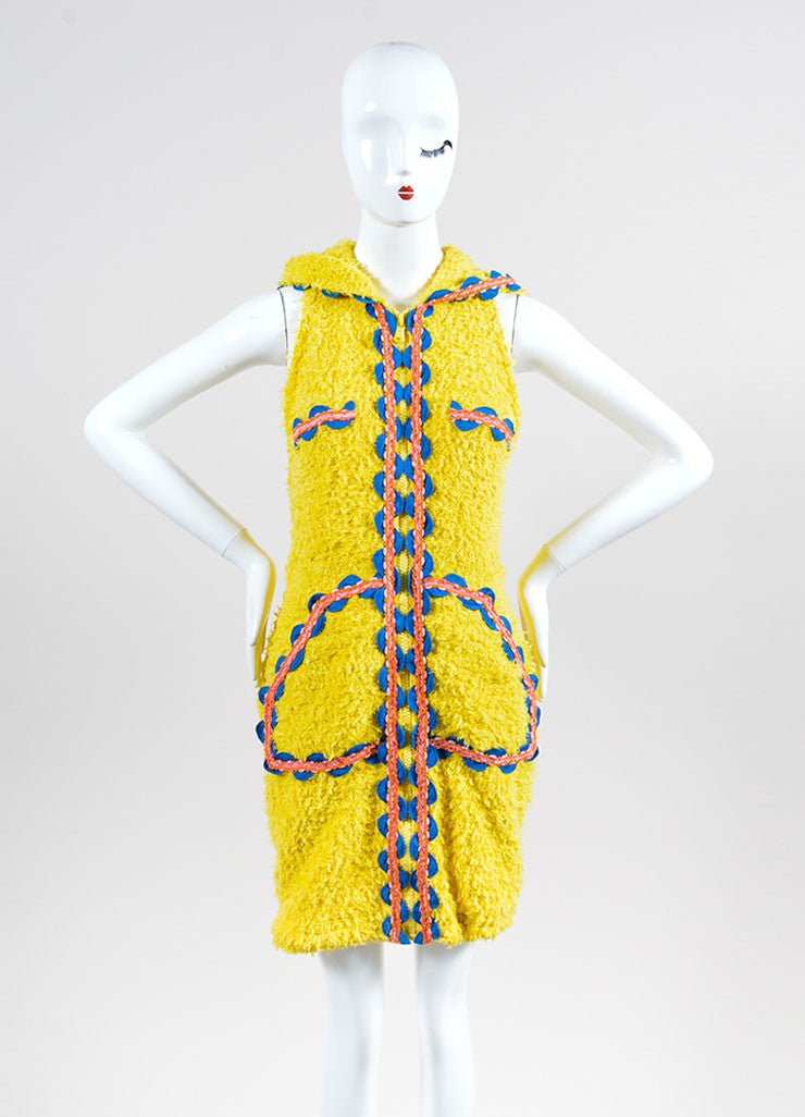 Yellow and Multicolor Moschino Couture! Hooded Ribbon Wave Trim Zip Dress Frontview