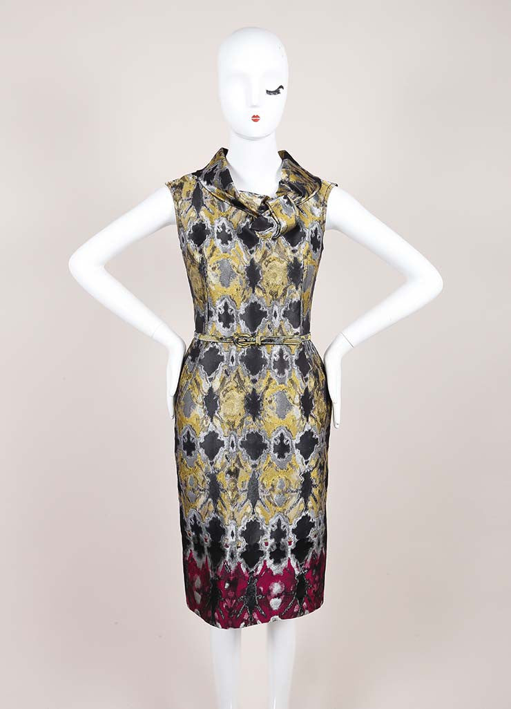 Oscar de la Renta Multicolor Metallic Jacquard Sleeveless Belted Sheath Dress Frontview