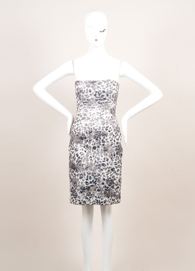 Peter Soronen Grey, Metallic Silver, and White Floral Brocade Strapless Dress Frontview