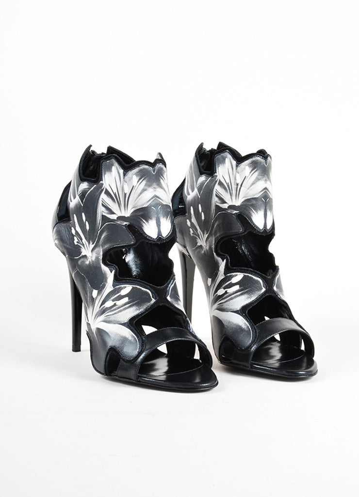 Pierre Hardy Black and White Printed Lily Leather Sandals Frontview