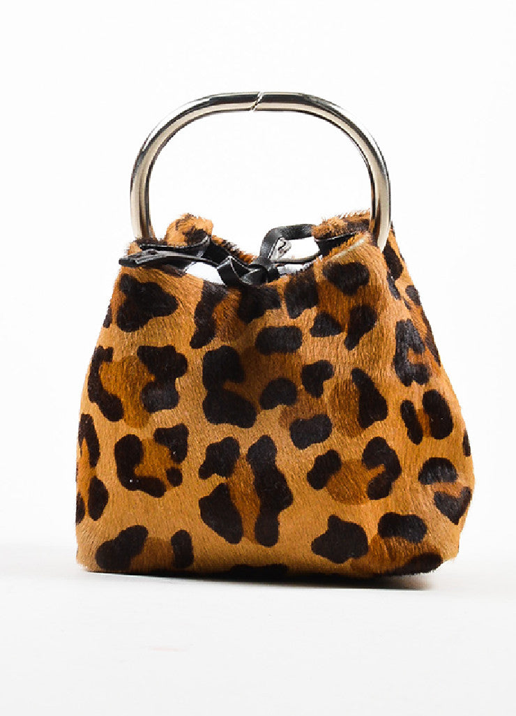 Prada Tan and Brown Pony Hair Leopard Print Mini Handbag Frontview