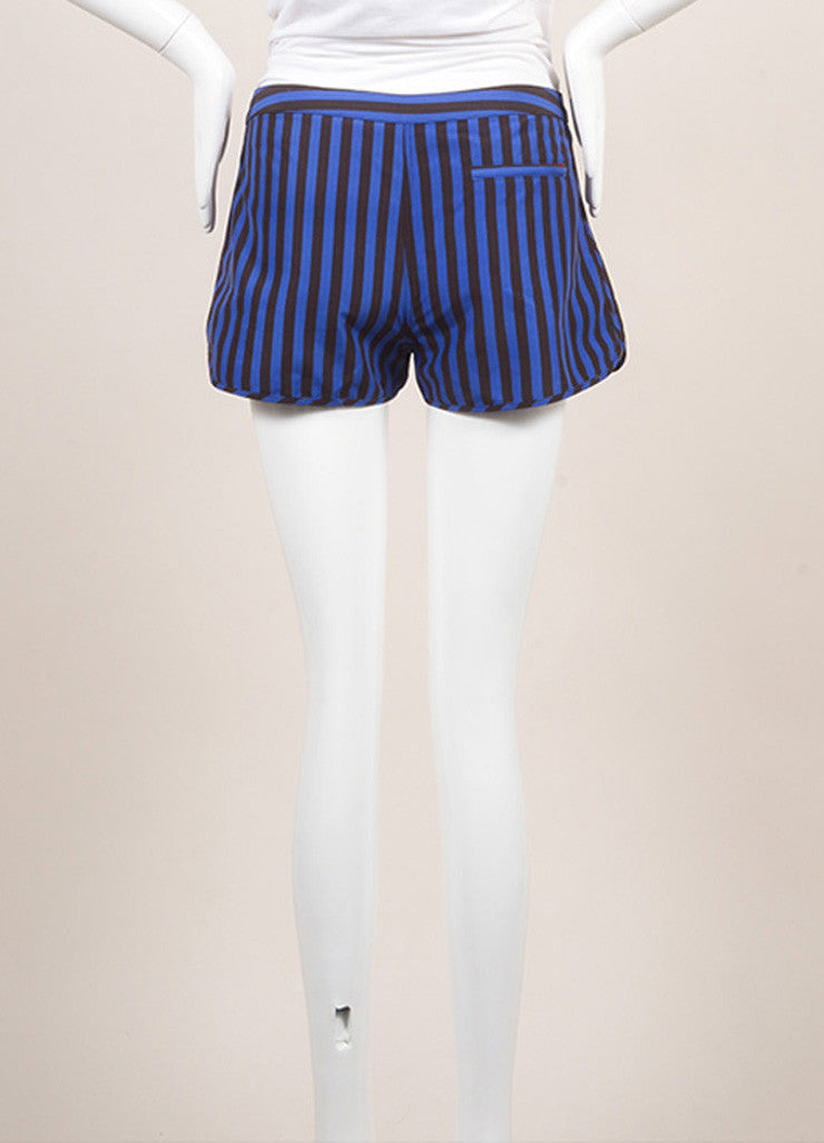 Pret a Surf New With Tags Blue and Black Stripe Velcro Front Swim Boy Shorts Backview