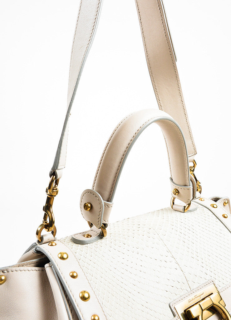 "Salvatore Ferragamo Grey Leather Python Studded ""Sofia"" Satchel Bag Detail 2"