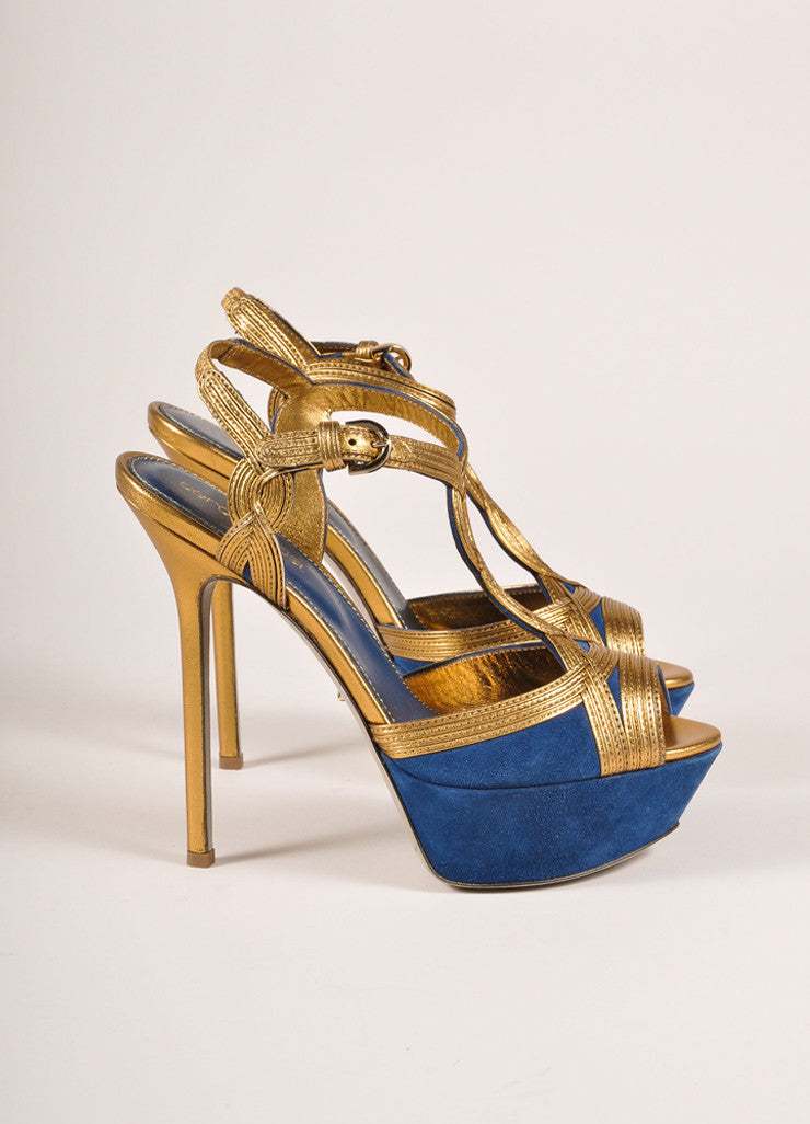Sergio Rossi New In Box Blue and Bronze Suede Leather T-Strap Platform Pumps Sideview