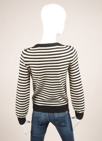 Sonia by Sonia Rykiel Black and Cream Wool Stripe Embellished Sweater Backview