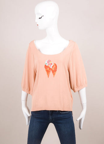 "Sonia Rykiel New With Tags Peach Knit ""Lovebird"" Embroidered Half Sleeve Top Frontview"