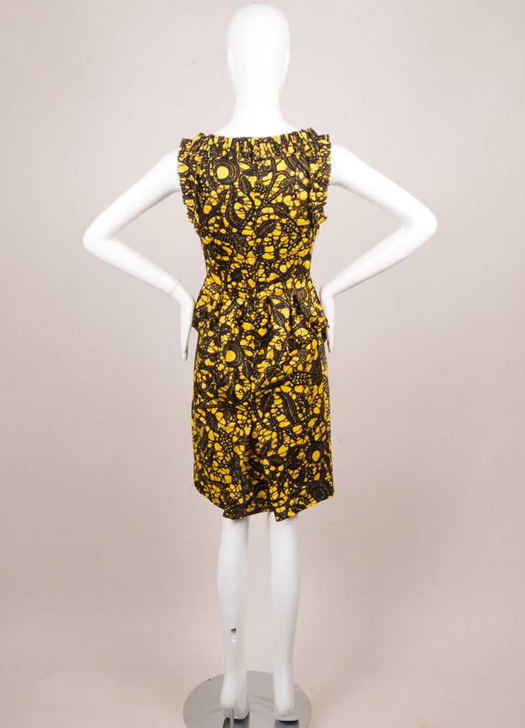 Thakoon Yellow, Black, and Brown Cotton Printed Ruffle Shift Dress Backview