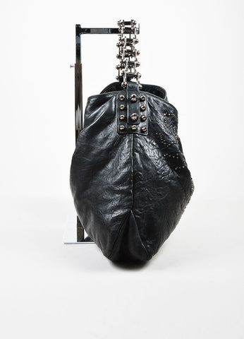 "Thomas Wylde Black Gunmetal Distressed Leather Jeweled ""Colossus Scorpion"" Bag Sideview"