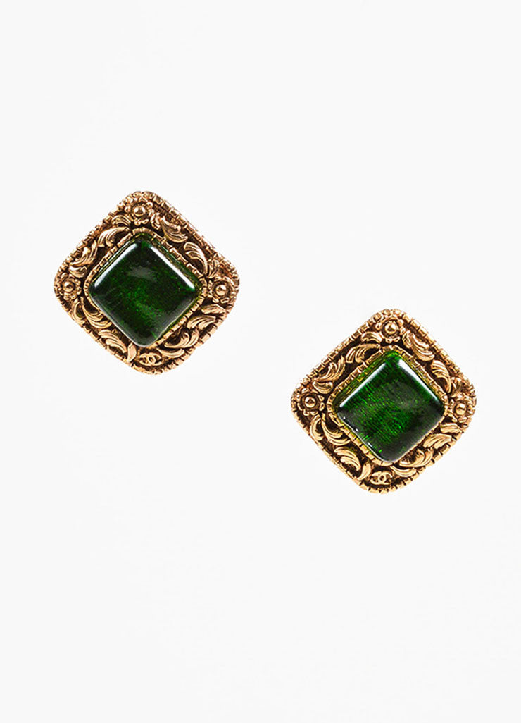 Chanel Gold Toned and Emerald Green Stone Floral Square Clip On Earrings Frontview