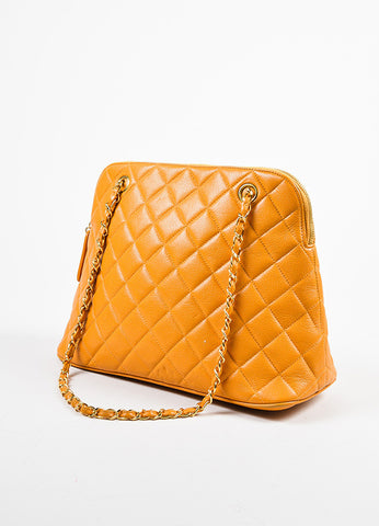Chanel Orange Quilted Caviar Leather Shoulder Bag Sideview