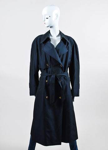 Navy Hermes Silk Logo Button Double Breasted Belted Trench Coat Frontview