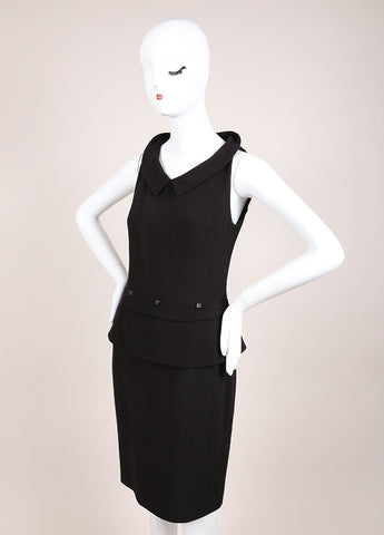 Karl Lagerfeld Black Peplum Sleeveless Dress Sideview
