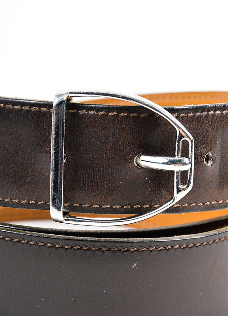 Men's Hermes Brown Leather Silver Buckle Belt Buckle