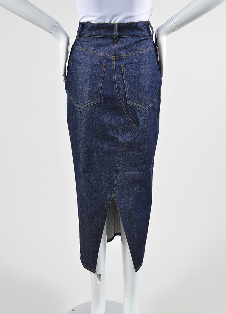 Victoria Beckham Jeans Dark Blue Denim Slit Midi Pencil Skirt Backview
