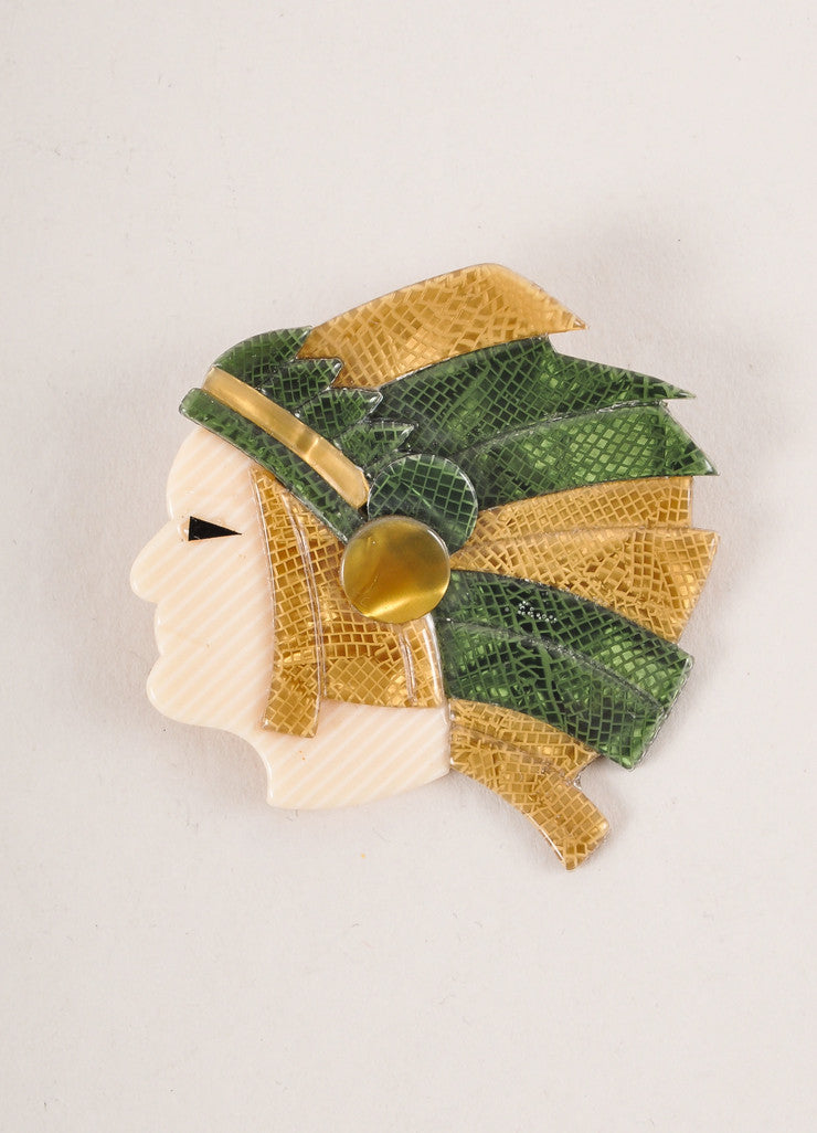 Lea Stein Gold Toned, Green, and Cream Acetate Indian Man Head Brooch Frontview