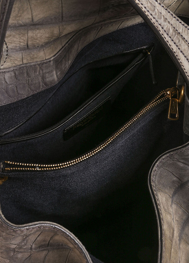 "Yves Saint Laurent Grey and Gold Toned Crocodile Embossed Leather ""Capri"" Hobo Bag Interior"