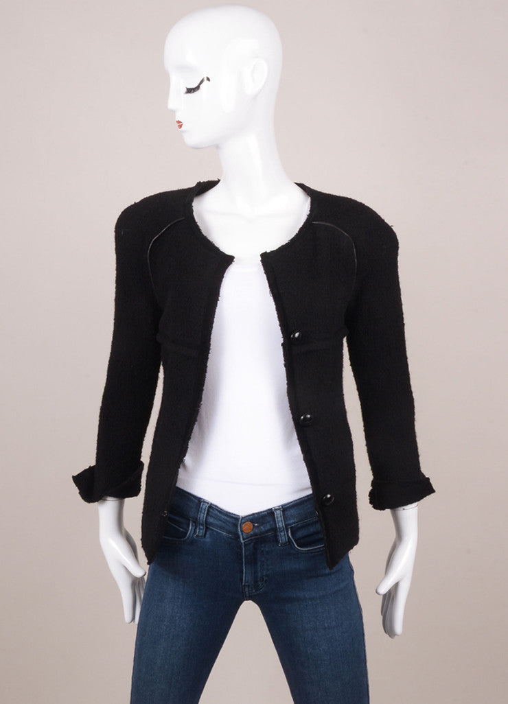 Black Boucle Wool and Leather Paneled Blazer