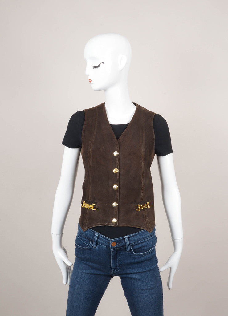 Brown Suede Vest With Gold Hardware