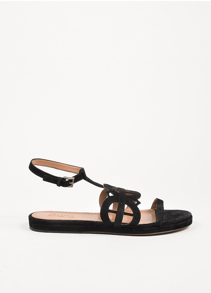 Alaia Black Suede Cut Out Ankle Strap Flat Slide Sandals Sideview