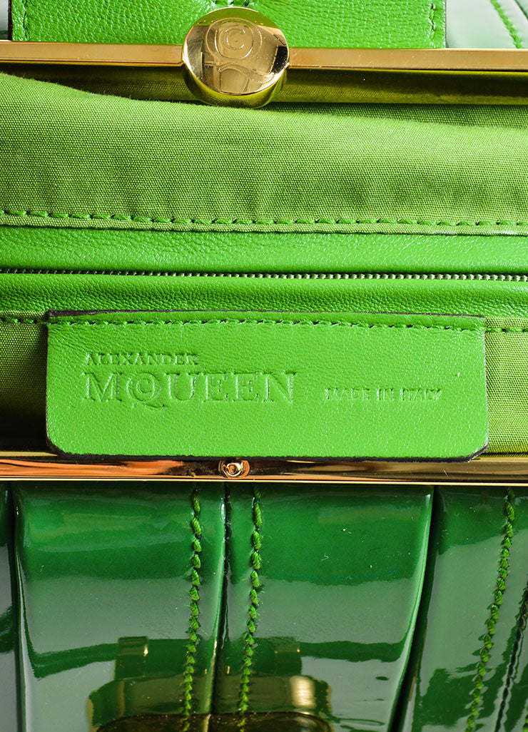 "Green Alexander McQueen Patent Leather Pleated ""Elvie"" Tote Bag Brand"