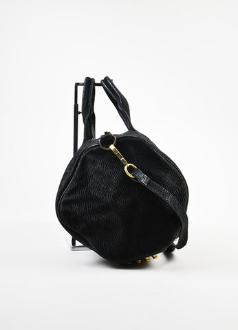 "å´?ÌÜAlexander Wang Black Ribbed Suede Gold Toned ""Rocco"" Studded Satchel Bag Sideview"