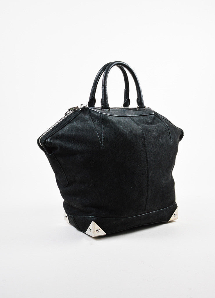 "Alexander Wang Black and Silver Toned Nubuck Leather Metal ""Large Emile"" Satchel Bag Sideview"