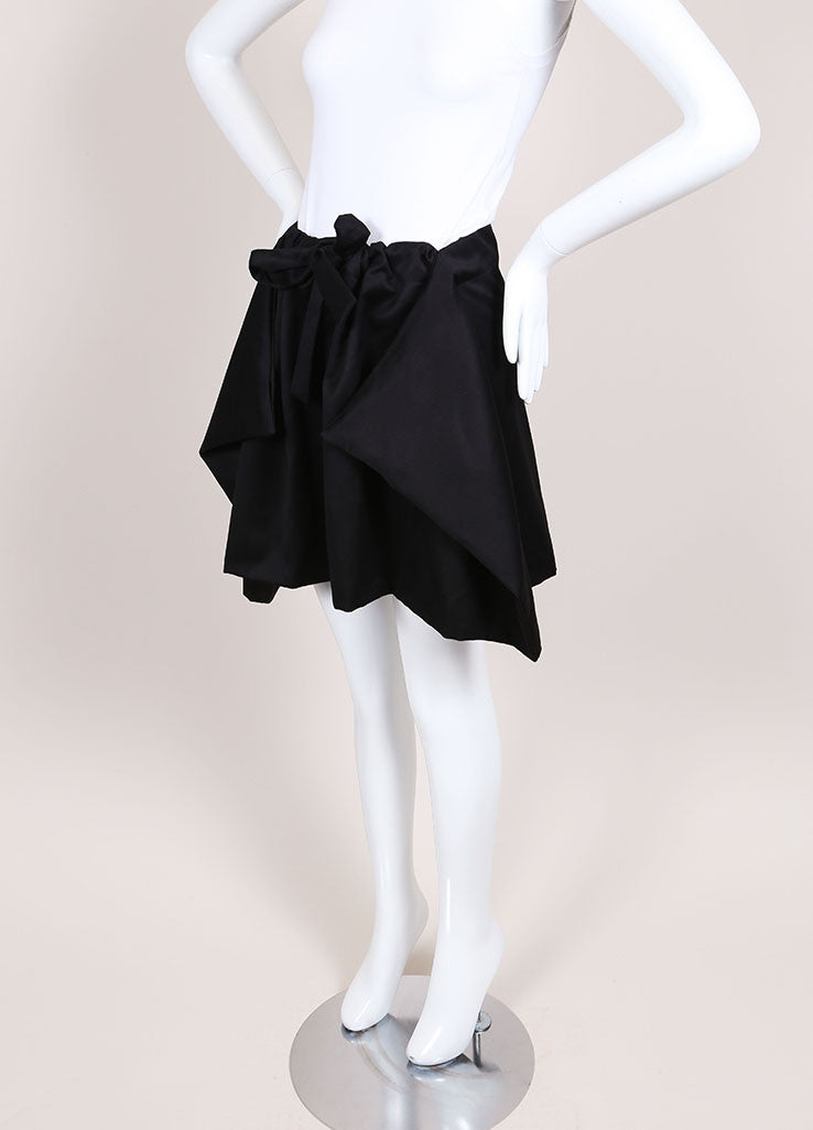 Alexis Mabille Black Knit Draped Drawstring Skirt Sideview
