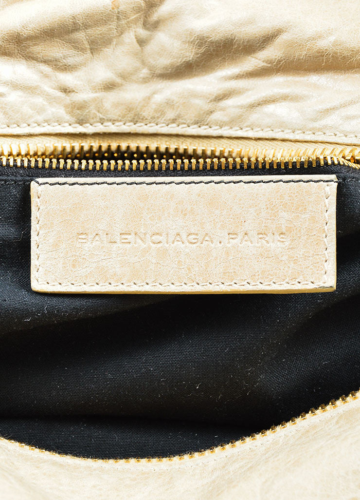 "Beige Gold Toned Stud Balenciaga ""Motocross Giant Brief"" Oversized Purse Bag Brand"