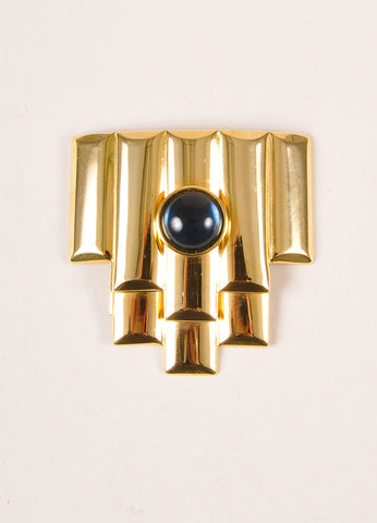 Balenciaga Gold Toned and Blue Glass Geometric Deco Pin Brooch Frontview