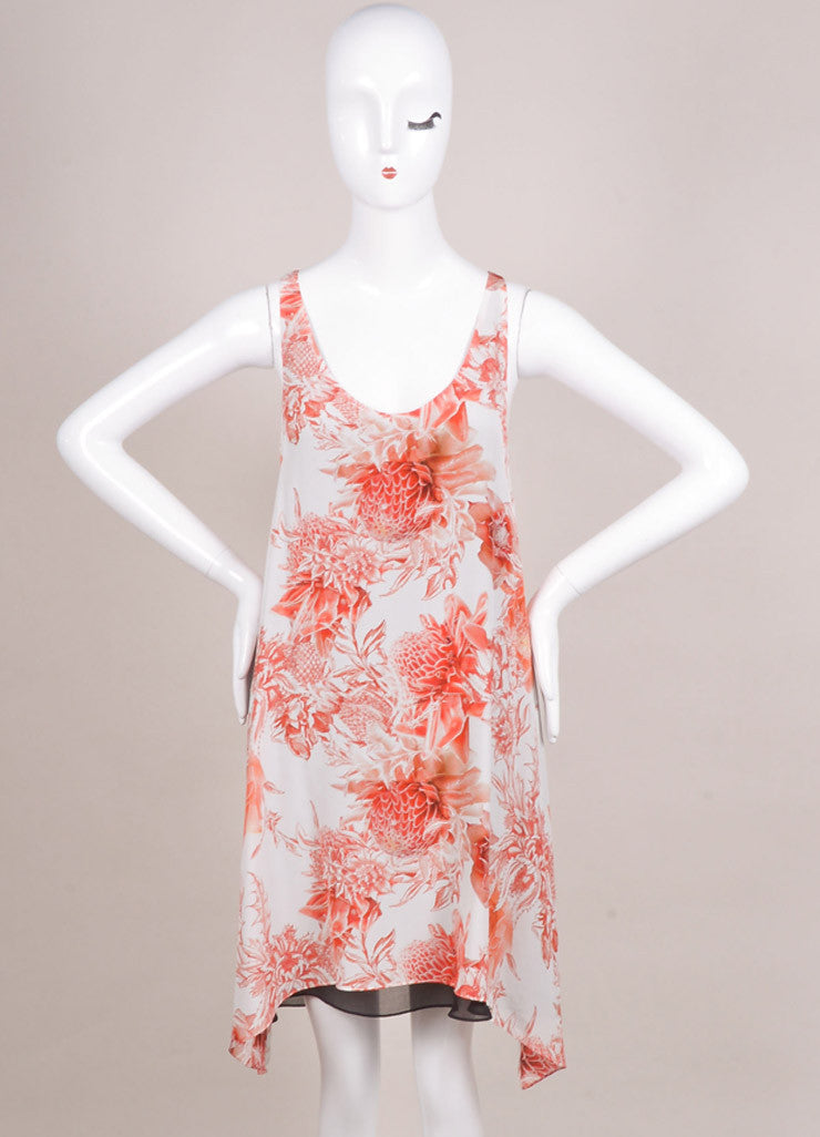 "Barbara Bui New With Tags White and Red Silk ""Toile"" Floral Print Dress Frontview"