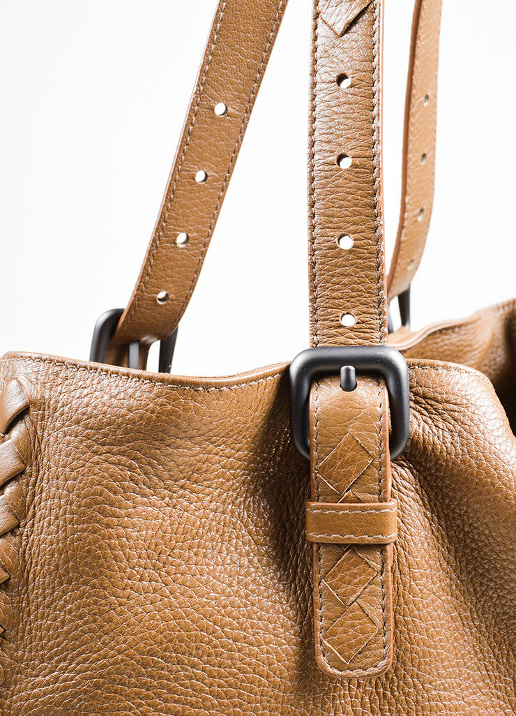 "Taupe Brown Bottega Veneta Leather Woven Trim Expandable ""Cervo"" Tote Bag Detail"