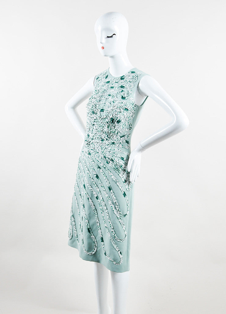 Bottega Veneta  Light Green and White Silk Pattern Sleeveless Sheath Dress Sideview