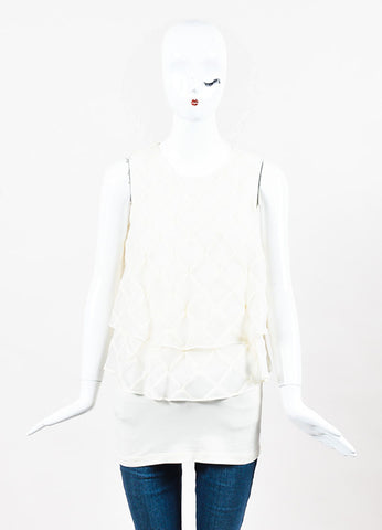 Brunello Cucinelli Cream Organza Lattice Tiered Ruffle Sleeveless Top frontview