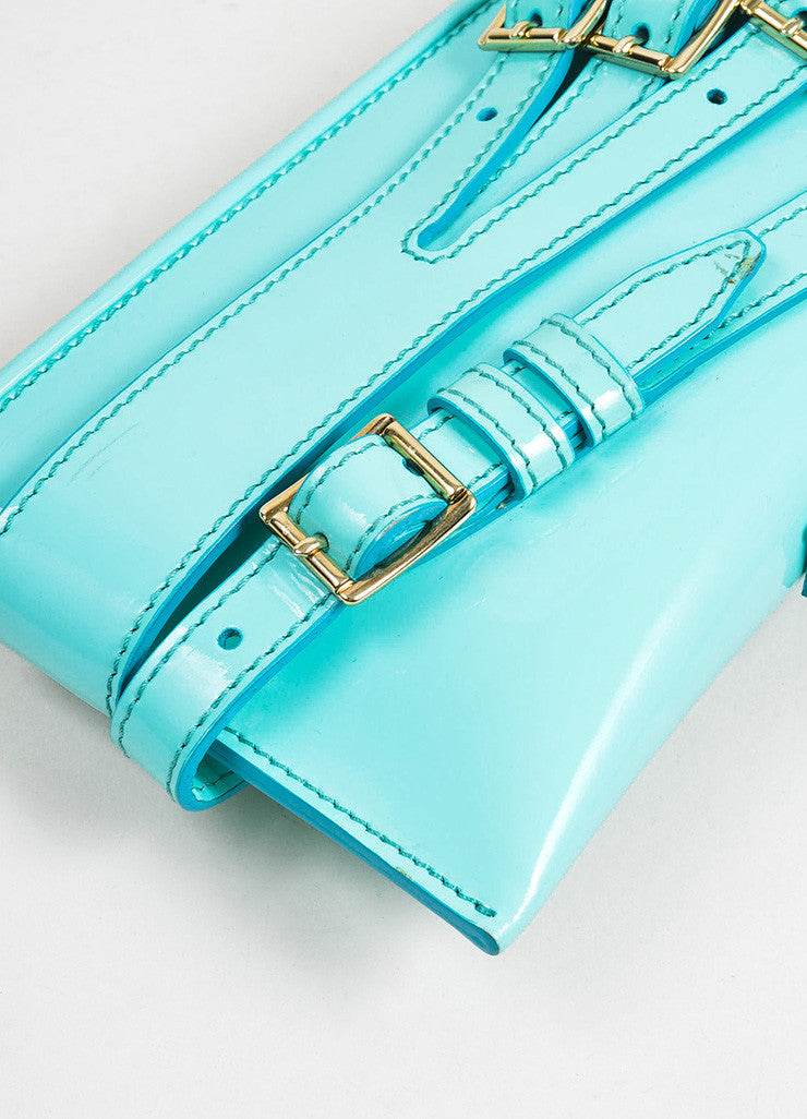"Aqua Blue Burberry Prorsum Patent Leather Strap ""Bridle"" Shoulder Clutch Bag Detail"