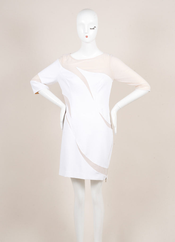 Catherine Malandrino White and Nude Cotton Mesh Cut Out Zip Dress Frontview