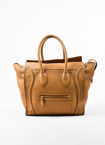 "Celine Brown Pebbled Leather ""Mini Luggage Shoulder Tote"" Bag Frontview"