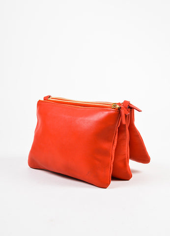 "Celine Red Lambskin Leather ""Trio"" Crossbody Bag Sideview"