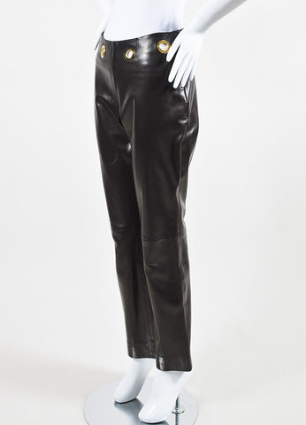 Celine Brown Leather Gold Toned Metal Large Grommet Straight Leg Pants Sideview