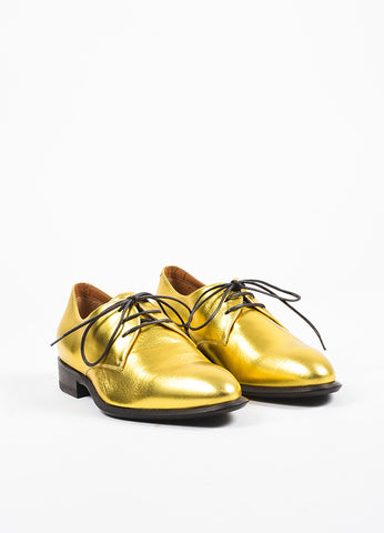 Celine Gold Metallic Leather Lace Up Oxfords Frontview