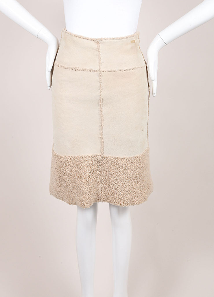 Chanel Beige Suede Shearling Lambswool A Line Skirt Frontview