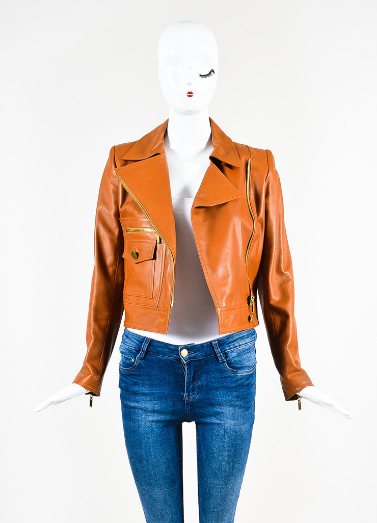 Chanel Brown Leather Asymmetrical Pocket Zip Moto Jacket Frontview
