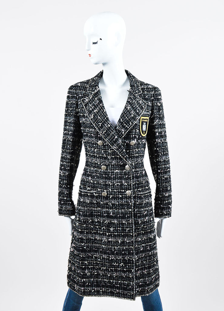 "Black, White, and Pink Chanel Cotton Blend Tweed ""No. 5"" Bottle Emblem Coat Frontview"