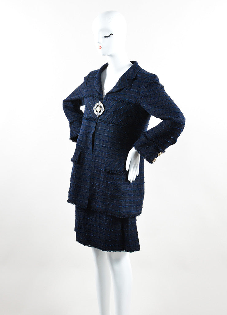 Chanel Navy Cotton and Linen Tweed Faux Pearl Button Skirt Suit Sideview
