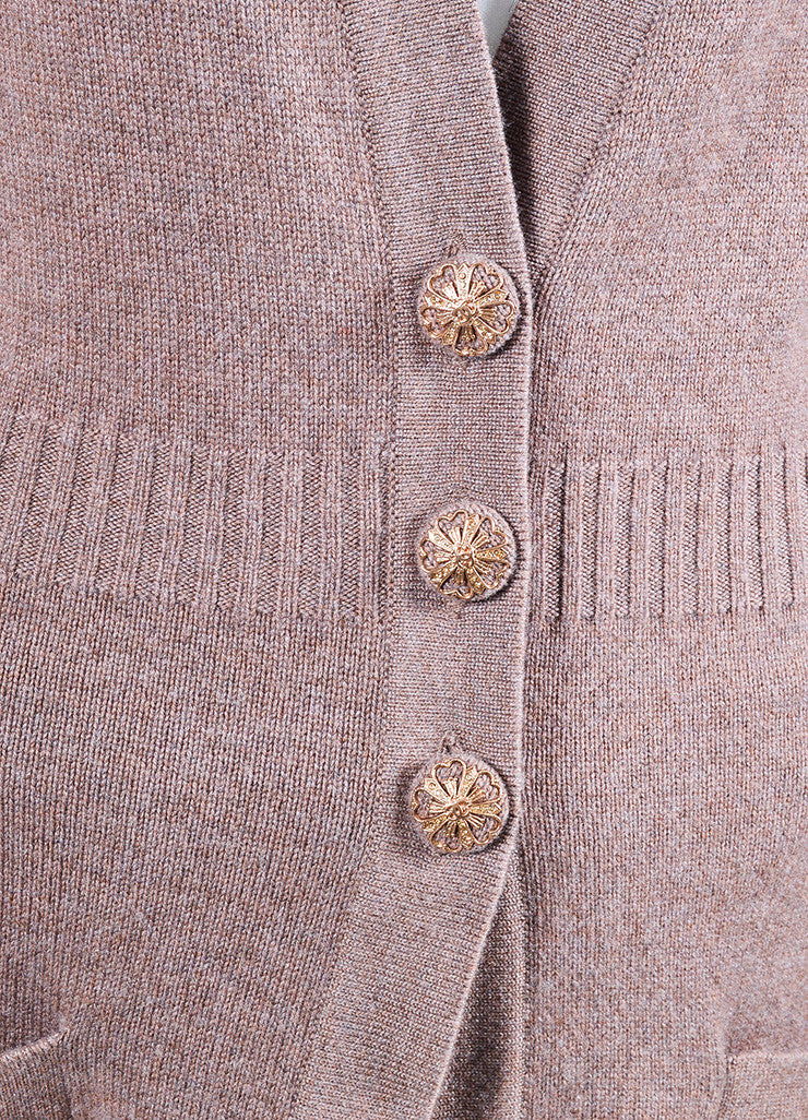 Chanel Purple and Brown Cashmere Rose Gold 'CC' Button Cardigan Sweater Detail