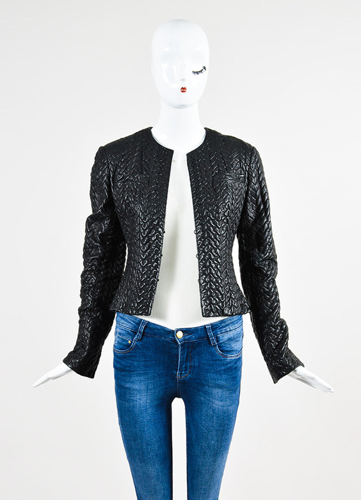 Black Chanel Textured Leather Collarless Cropped Jacket Frontview