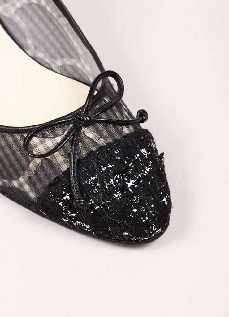 Chanel Black Semi-Sheer Gingham and Tweed Cap Toe Pumps Detail
